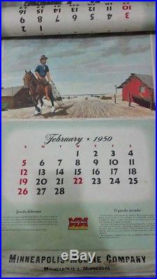 1950 Calendar Minneapolis Moline Tractors Spanish English Argentina Scenes #sale