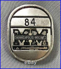 Early MINNEAPOLIS MOLINE Employee PIN 84 Original ANTIQUE Farm Tractor