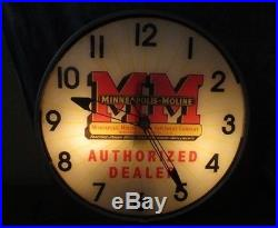 Minneapolis Moline Advertising Clock Light Sign Tractor Implement Gas Station c