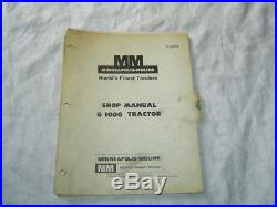 Minneapolis Moline G1000 G-1000 tractor service shop manual factory original
