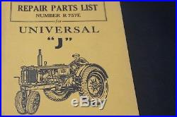 Minneapolis-Moline Universal J Tractor Repair Parts List Number R757E OEM