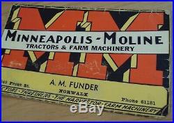 ORIGINAL 1930's'Advertising BUSINESS Card' MINNEAPOLIS-MOLINE Tractors