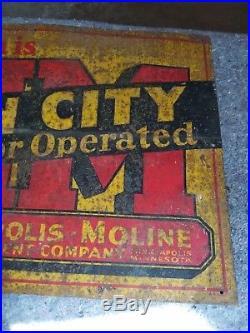 Rare 1920s Minneapolis Moline Twin City Tin Tacker Sign Farm Tractor oil gas OLD
