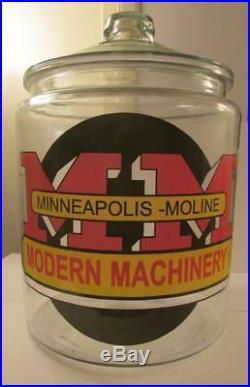 Super RARE Giant Minneapolis Moline Tractor Glass Counter Jar